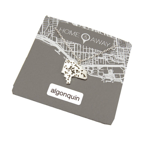 algonquin park map pendant necklace ontario