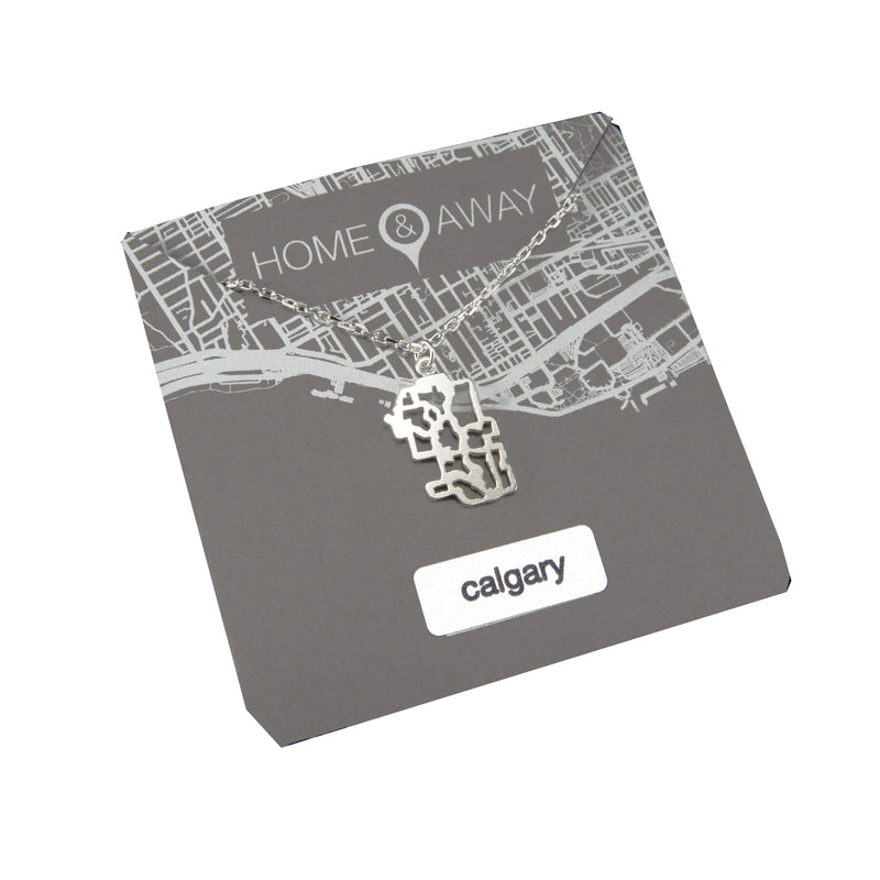 calgary alberta map pendant necklace