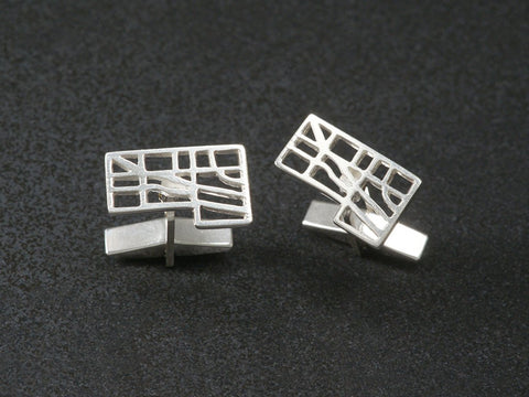 King West Liberty Village map cufflinks sterling silver