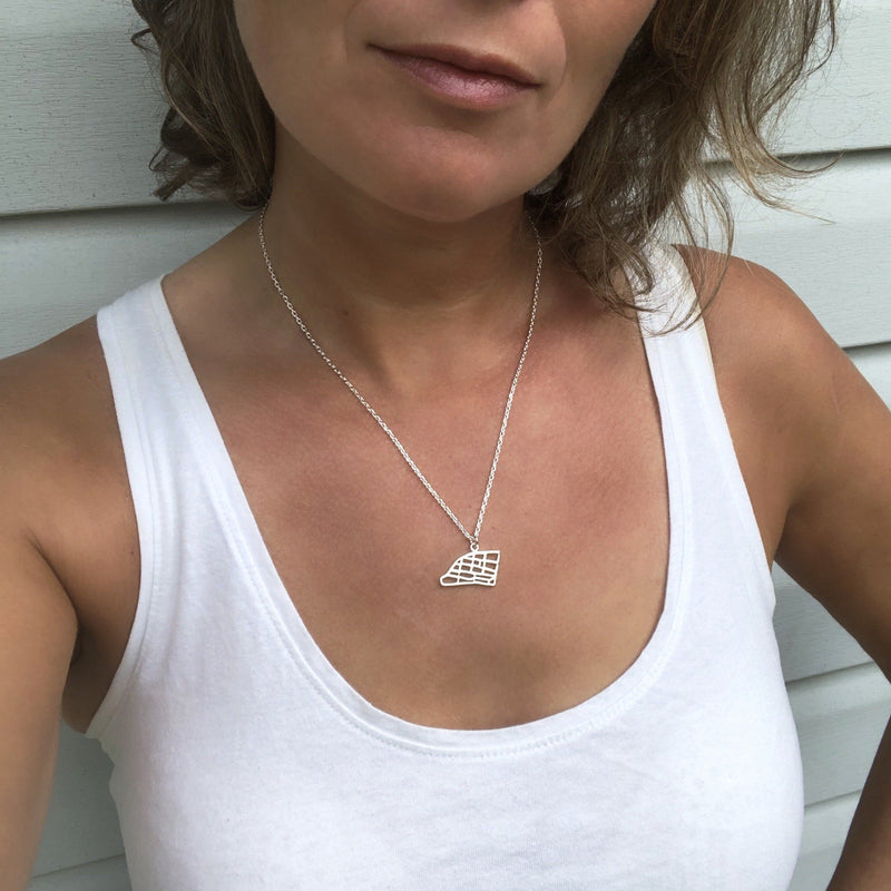 leslieville toronto map pendant necklace