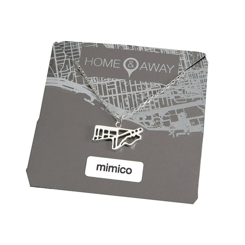 mimico toronto map pendant necklace