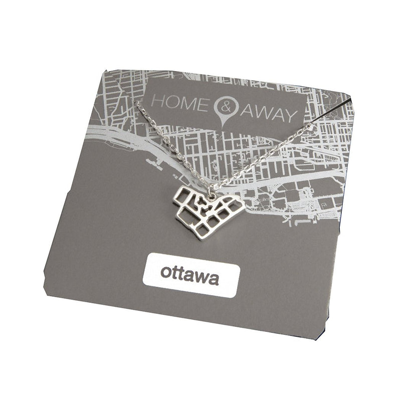 ottawa ontario map pendant necklace