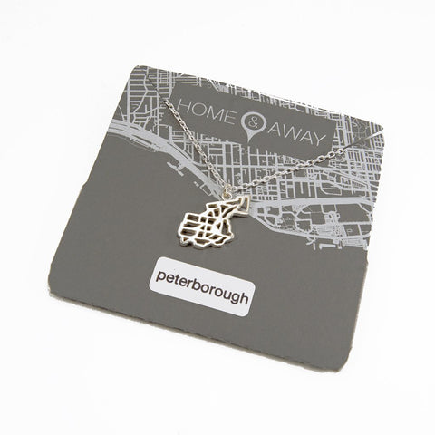 peterborough ontario pendant map necklace