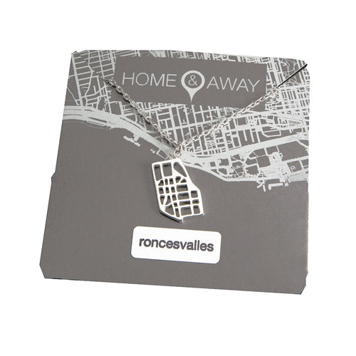 roncesvalles toronto map pendant necklace