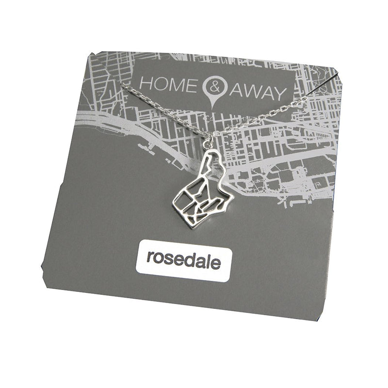 rosedale toronto map pendant necklace