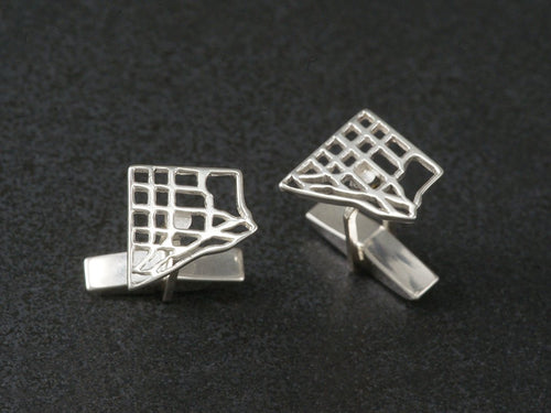 scarborough map cufflinks sterling silver