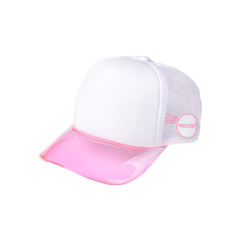 Trucker hat with pink semi transparent plastic brim - Καπέλο trucker με ροζ ημιδιάφανο γείσο
