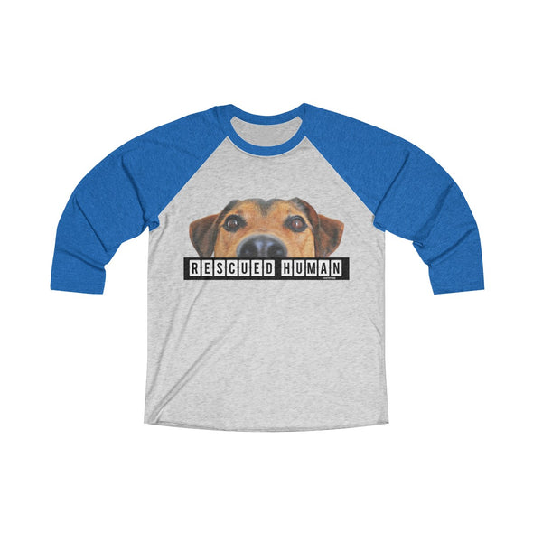 """Rescued Human"" Women's Tri-Blend 3/4 Raglan Tee - OUTFITEE"