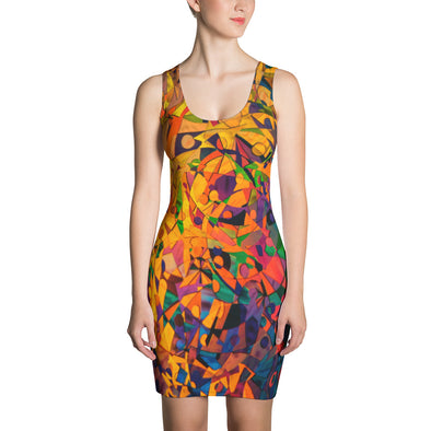 Artful Print Fitted Dress - OUTFITEE