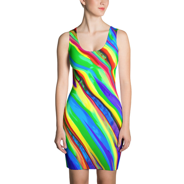 Bright Color Watercolor Fitted Dress - OUTFITEE