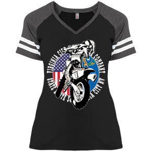VCGP Dirt Bike and Flags Women's Grand Prix V-Neck T-Shirt Virginia City Motorcycle Company