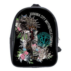 Skull + Flower Leather Backpack bag Virginia City Motorcycle Company Apparel
