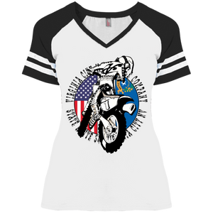 Grand Prix Ladies' V-Neck T-Shirt, White T-Shirts Virginia City Motorcycle Company Apparel