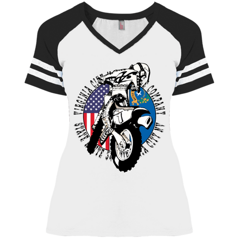 Grand Prix Ladies' V-Neck T-Shirt, White Ladies T-Shirt Virginia City Motorcycle Company Apparel