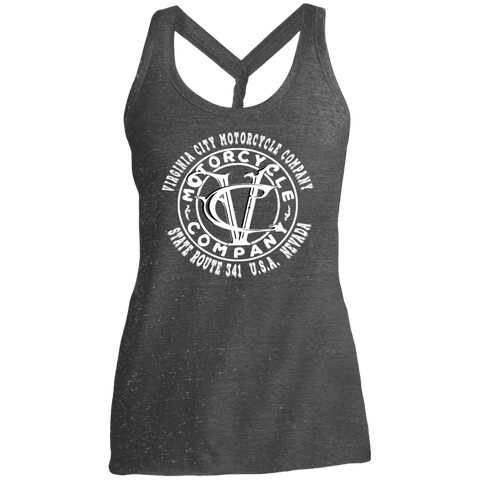 VC Logo on Ladies' Cosmic Twist Back Tank Ladies Tank Top Virginia City Motorcycle Company Apparel