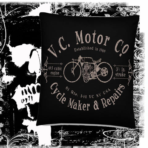 Vintage Cycle Maker logo Motorcycle Pillow pillow Virginia City Motorcycle Company Apparel