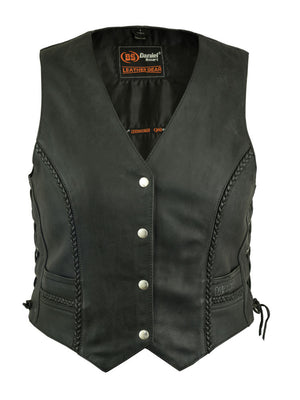 Daniel Smart - Women's Braided Leather Vest - DS222 Women's Leather Vests Virginia City Motorcycle Company Apparel