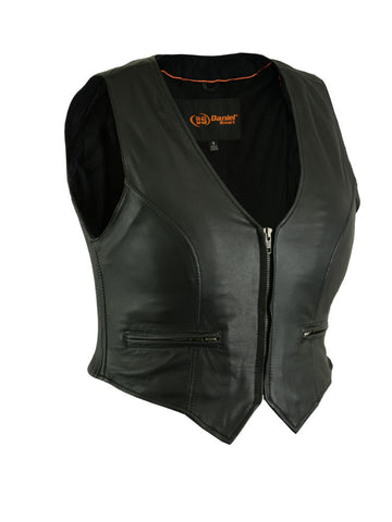 Daniel Smart - Women's Leather Lightweight Zipper Front Vest - DS238 Women's Leather Vests Virginia City Motorcycle Company Apparel