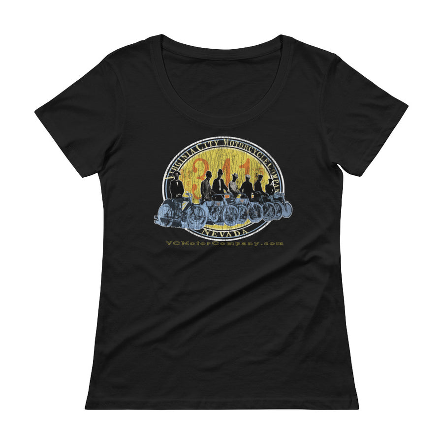 Motorcycle Club Shot - Ladies' Scoop Neck Biker T-shirt Ladies T-Shirt Virginia City Motorcycle Company Apparel