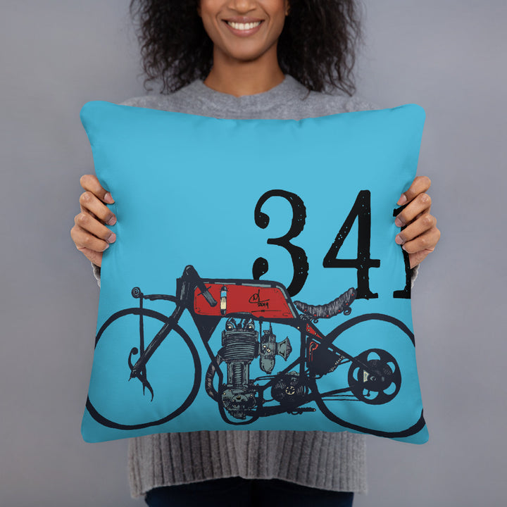 Vintage Racer #25 Motorcycle Pillow pillow Virginia City Motorcycle Company Apparel