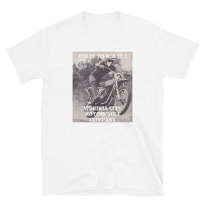 Pin It To Win It Dirt Bike White Short-Sleeve T-Shirt Men's T-Shirt Virginia City Motorcycle Company Apparel