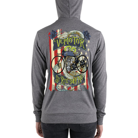 Vintage Bike Tattoo Zip Up Motorcycle Hoodie Hoodie Virginia City Motorcycle Company Apparel