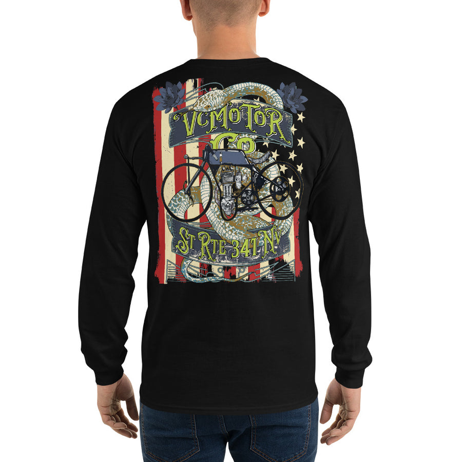 Vintage Bike Tattoo LS Motorcycle Shirt Men's Long Sleeve Virginia City Motorcycle Company Apparel