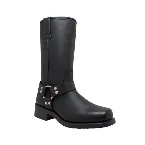 "Women's 12"" Harness Square Soft Toe Motorcycle Boot-Black - 2442 Women's Boots Virginia City Motorcycle Company Apparel"