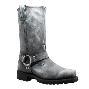 Men's Harness, Black Stone Wash Leather Boot - 1442SBK Men's Boots Virginia City Motorcycle Company Apparel