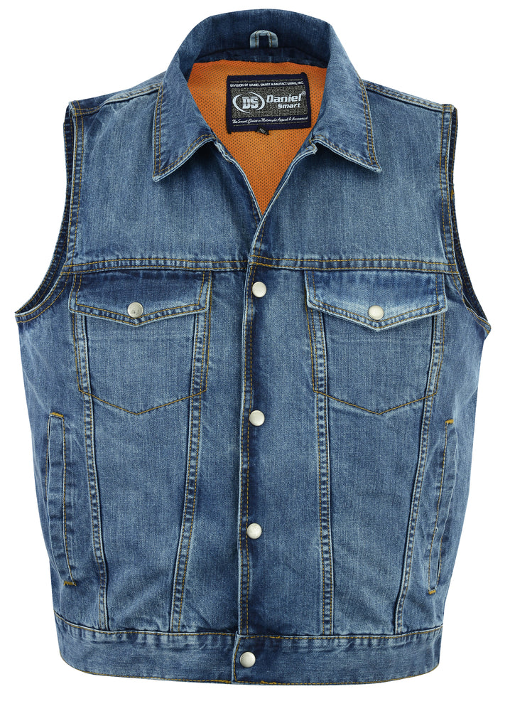 Daniel Smart - Men's Snap Front Denim Vest- Blue - DM970BU Men's Denim Vests Virginia City Motorcycle Company Apparel
