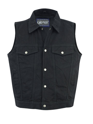 Daniel Smart - Men's Snap Front Denim Vest- Black - DM970BK Men's Denim Vests Virginia City Motorcycle Company Apparel