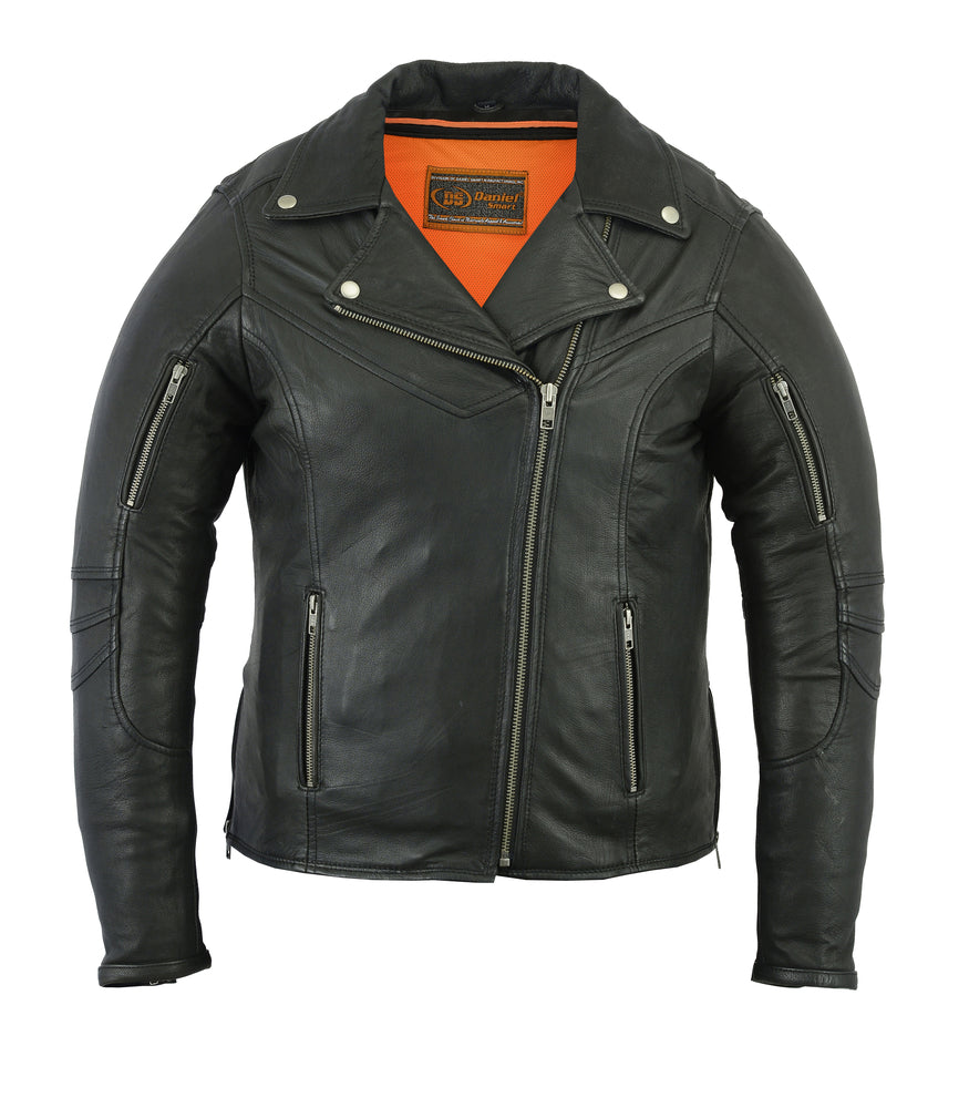 Women's Modern Longer Beltless Biker Jacket -  DS894 Women's Jackets Virginia City Motorcycle Company Apparel