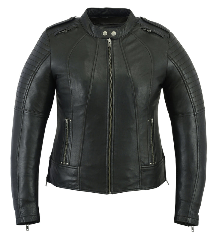 Women's Updated Black Leather Biker Jacket - DS893 Women's Jackets Virginia City Motorcycle Company Apparel