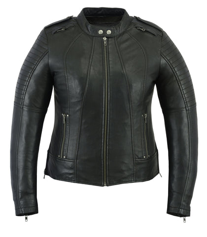 DS893 Women's Updated Black Leather Biker Jacket Women's Jackets Virginia City Motorcycle Company Apparel