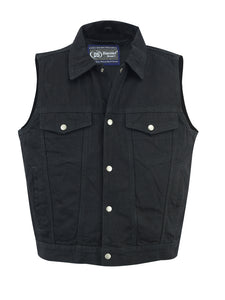 Daniel Smart -Men's Snap/Zipper Front Denim Vest- Black - DM979BK Men's Denim Vests Virginia City Motorcycle Company Apparel