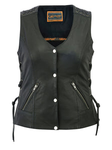 Daniel Smart - Women's Vest with Grommet and Lacing Accents - DS285 Women's Leather Vests Virginia City Motorcycle Company Apparel