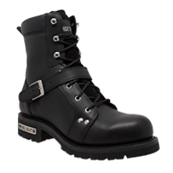 "Men's 6"" Zipper Black Biker Boot - 9146M Men's Boots Virginia City Motorcycle Company Apparel"