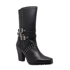 "Women's 12"" Harness with Studs Biker Boot - 8627 Women's Boots Virginia City Motorcycle Company Apparel"