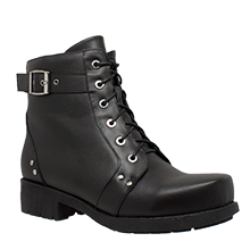 Women's Lace Up/Inside Zipper Motorcycle Ankle Boot - 8647 Women's Boots Virginia City Motorcycle Company Apparel