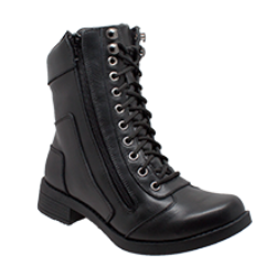 "Women's 8"" Zipper/Lace Front Biker Boot - 8650 Women's Boots Virginia City Motorcycle Company Apparel"