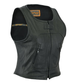 Daniel Smart -Women's Perforated SWAT Team Style Vest - DS002 Women's Leather Vests Virginia City Motorcycle Company Apparel