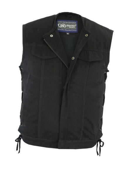 Daniel Smart -Men's Denim Vest, Conceal Carry Pockets, Blacked out hardware - DM978 Men's Denim Vests Virginia City Motorcycle Company Apparel