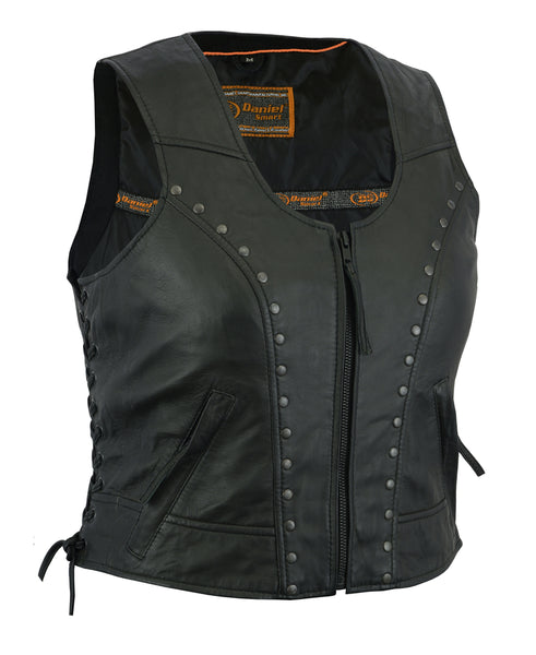 Daniel Smart - Women's Lightweight Vest with Rivets Detailing - DS241 Women's Leather Vests Virginia City Motorcycle Company Apparel