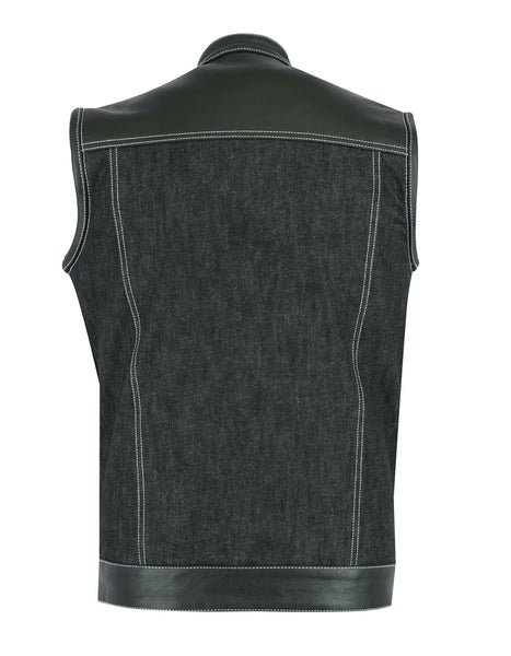 Daniel Smart - Men's Leather/Denim Combo Vest - DM900 Men's Denim Vests Virginia City Motorcycle Company Apparel