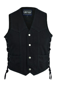 Daniel Smart -Kid's Denim Side Lace Vest - DM9726 Kid's Leather Virginia City Motorcycle Company Apparel