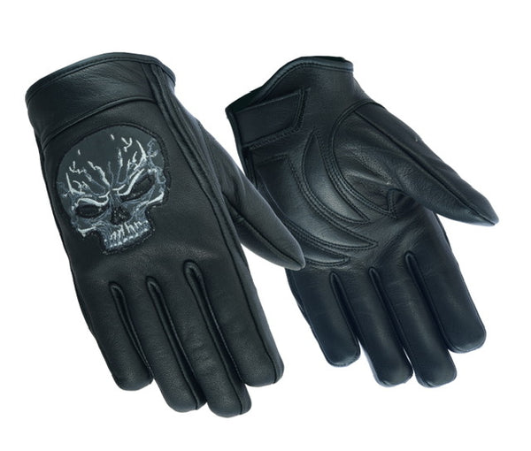 DS47   Reflective Skull Short Glove Men's Lightweight Gloves Virginia City Motorcycle Company Apparel