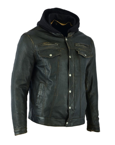 DS782 Men's Lightweight Drum Dyed Distressed Naked Lambskin Jacket Men's Jackets Virginia City Motorcycle Company Apparel