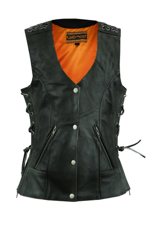 Daniel Smart - Women's Gray Vest with Grommet and Lacing Accents - DS285V Women's Leather Vests Virginia City Motorcycle Company Apparel