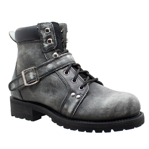 "Men's 6"" Zipper/Lace Stonewashed Leather Ankle Boot - 9143SBKM Men's Boots Virginia City Motorcycle Company Apparel"