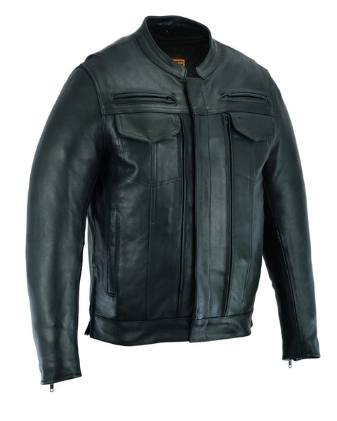 Men's Modern Utility Style Motorcycle Jacket - DS787 Men's Jackets Virginia City Motorcycle Company Apparel
